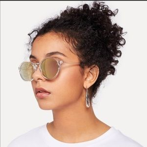 SHEIN Clear Frame Mirror Sunglasses